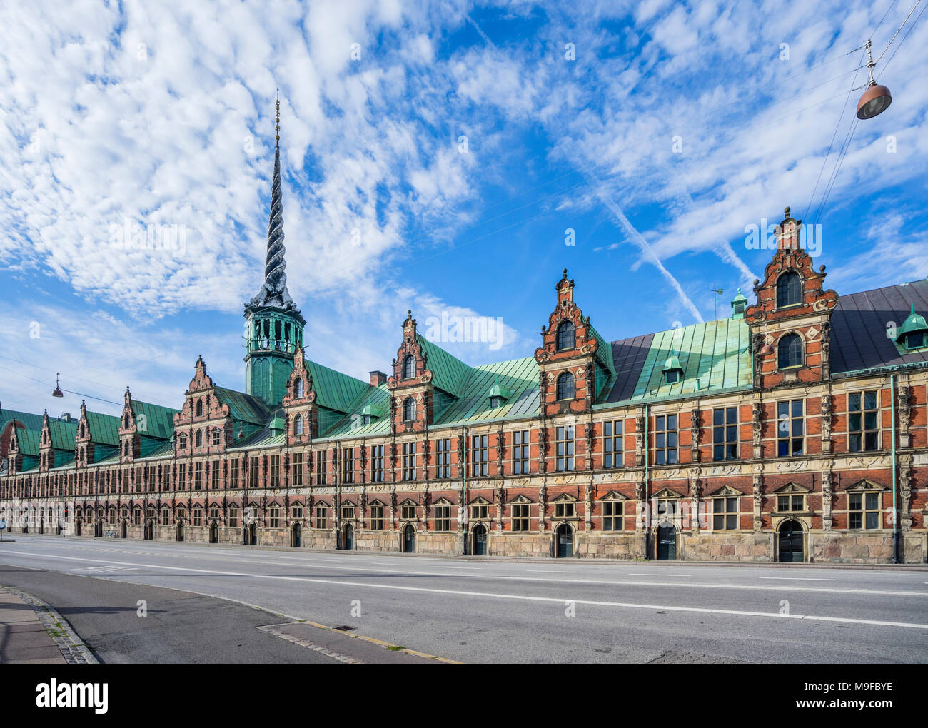 Denmark, Zealand, Copenhagen, view of the Børsen, Royal exchange, the former stock exchange with its distinctive spire, shaped as the tails of four dr - Stock Image