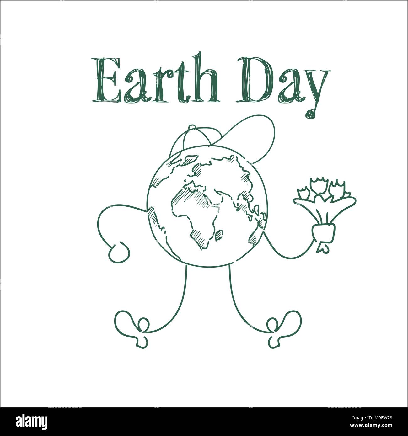 Earth Day Cute Greeting Card Sketch On White Background Happy