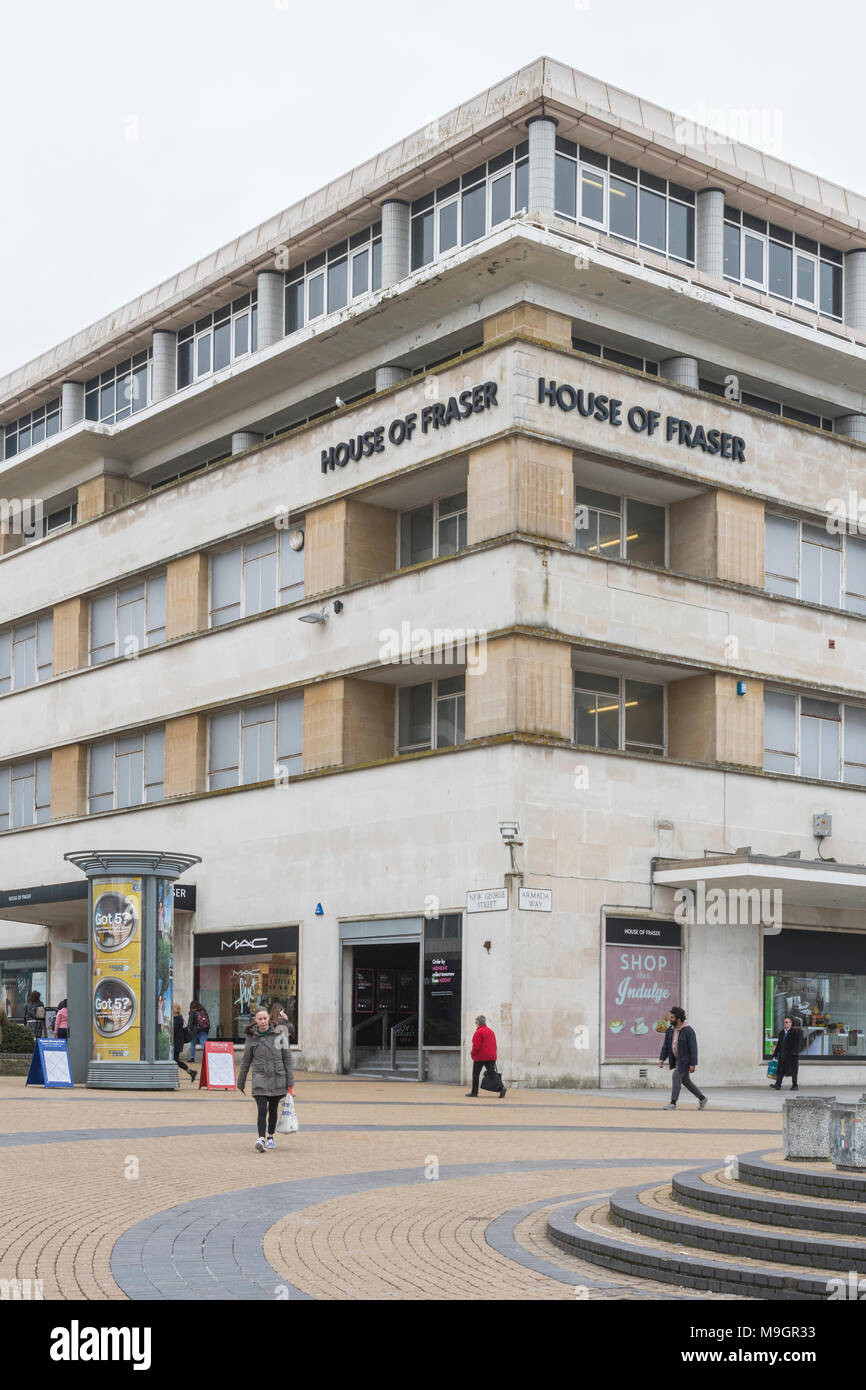 Exterior of the Plymouth House of Fraser shop. Metaphor for struggling retailers, high street retail, etc. - Stock Image