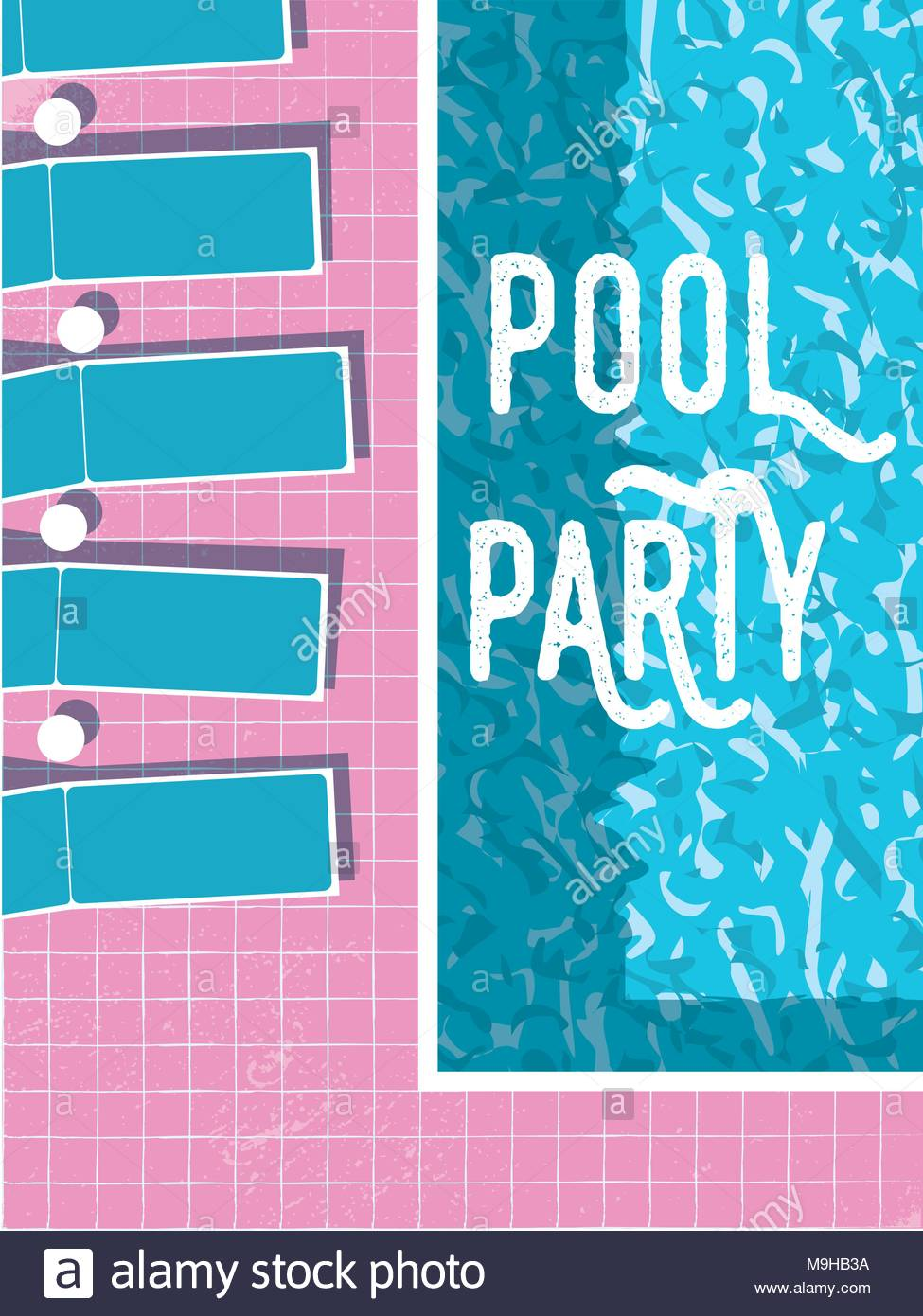 summer pool party invitation poster flyer vector template with
