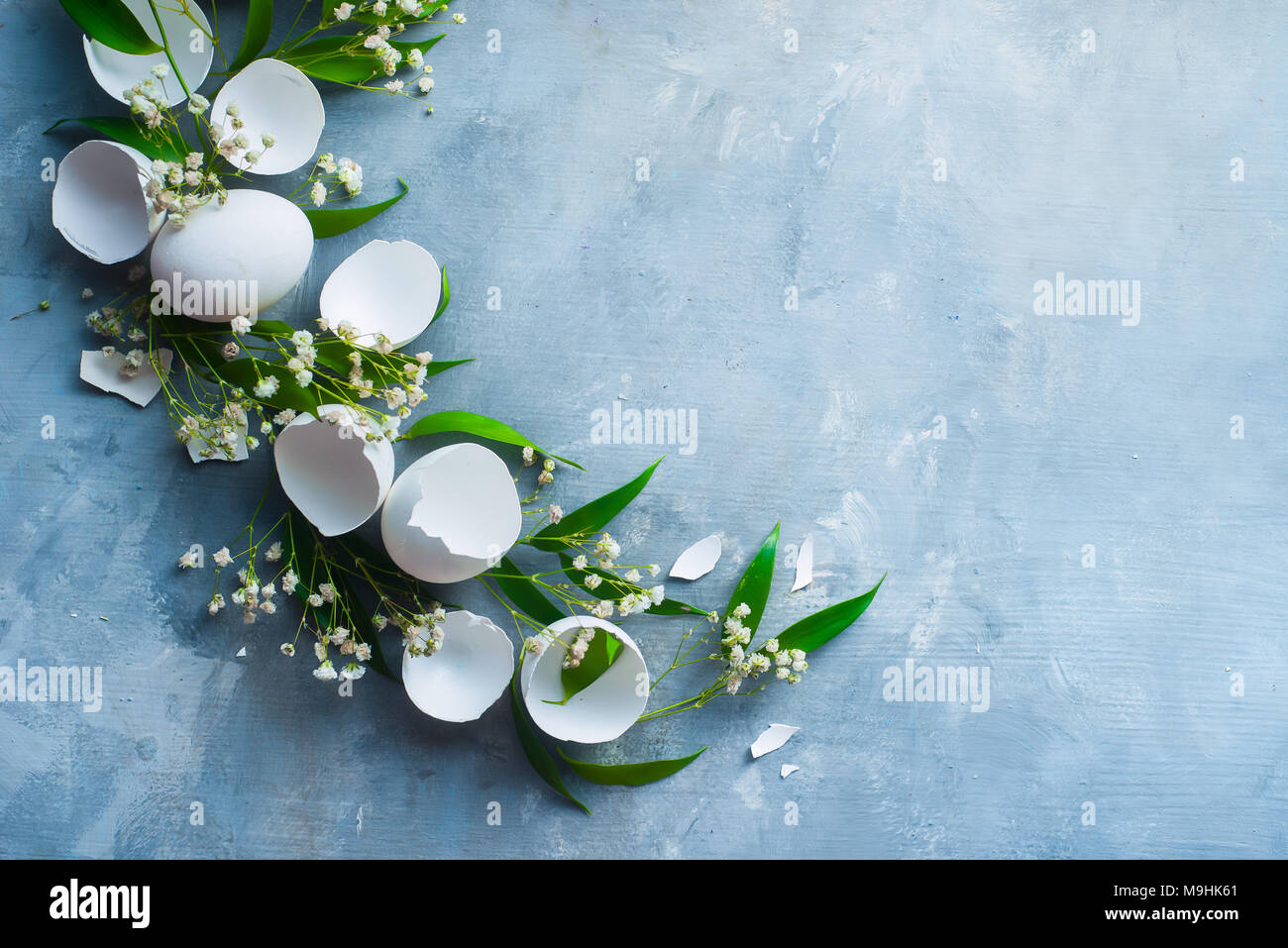 Header With Raw Eggs Decorative Green Leaves And Spring Flowers