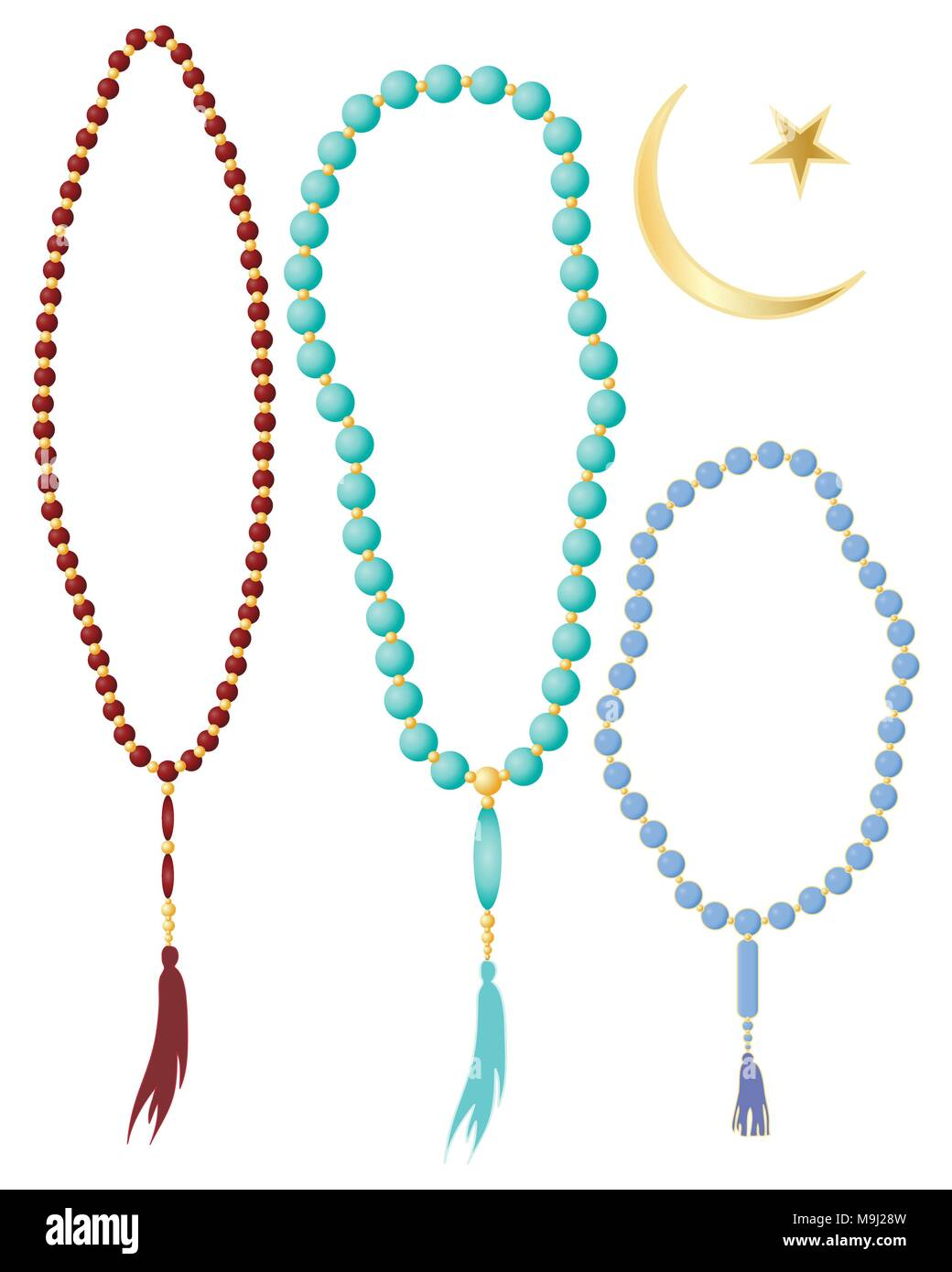 An Illustration Of Islamic Prayer Beads In Different Colors With