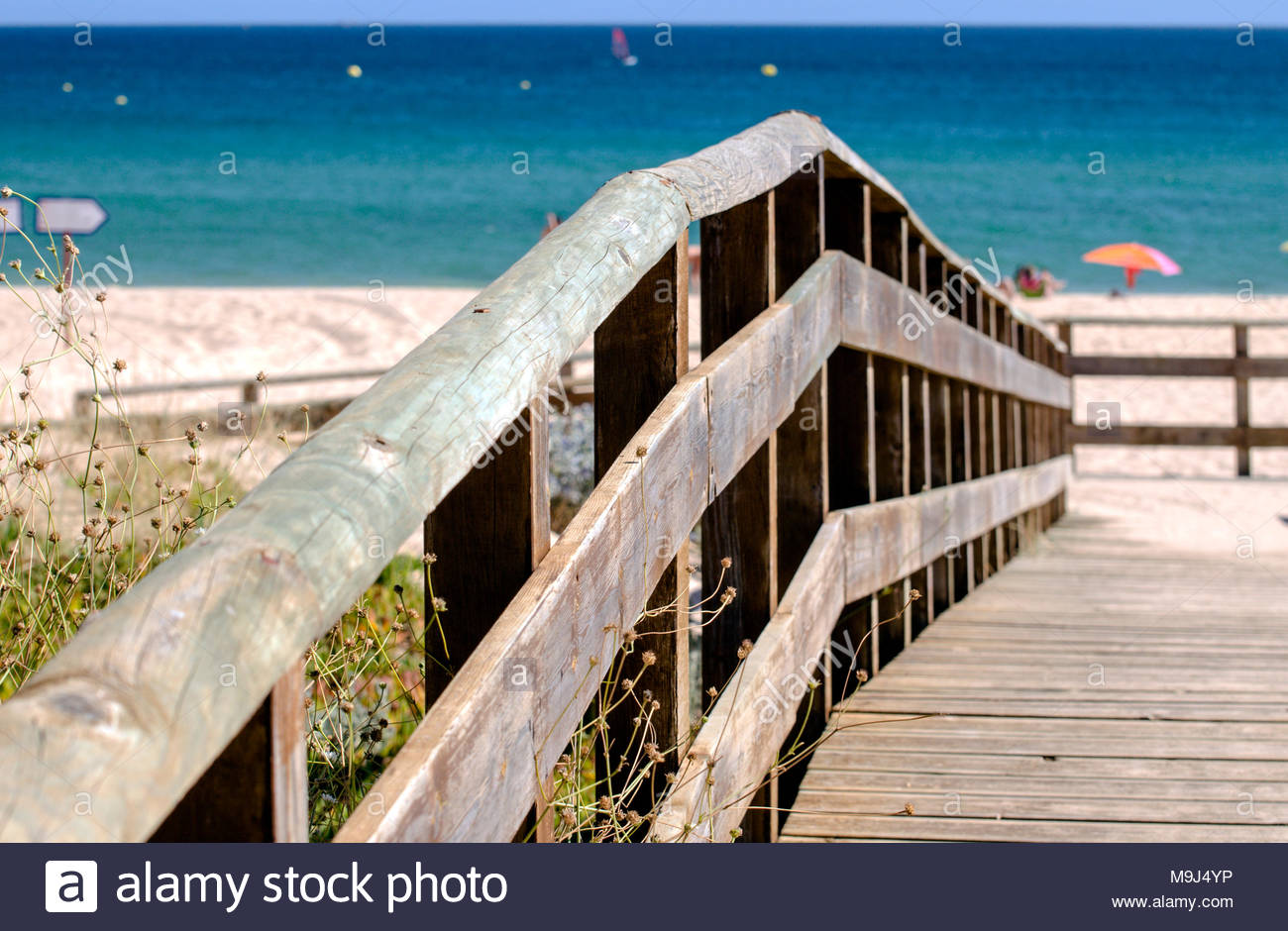 Hygge on the golden beach of Portimao, Portugal - Stock Image