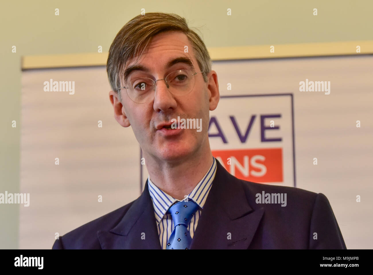 "London, United Kingdom. 27 March 2018. Jacob Rees-Mogg gives a major Brexit speech at a Leave Means Leave event in central London. Tory MP Rees-Mogg slammed Brussels for its ""bullying"" approach and said that they have entered negotiations ""in the spirit of they know best and we must do as we are told"".  Credit: Peter Manning/Alamy Live News - Stock Image"