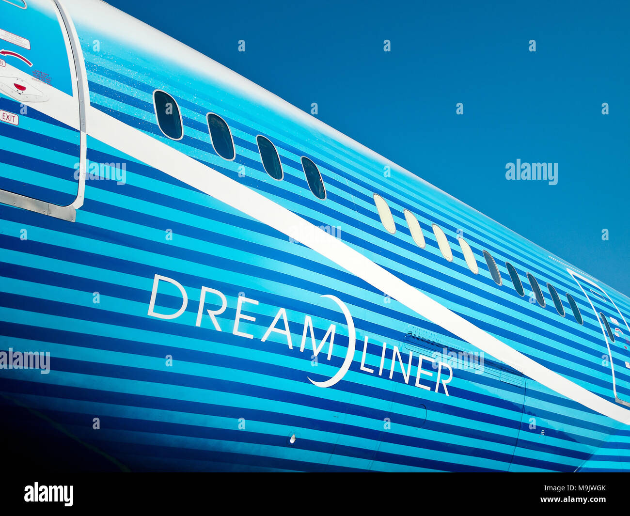 Fuselage of Boeing Dreamliner at International Aviation & Space Salon in Moscow MAKS, August 16 2011, Russia - Stock Image
