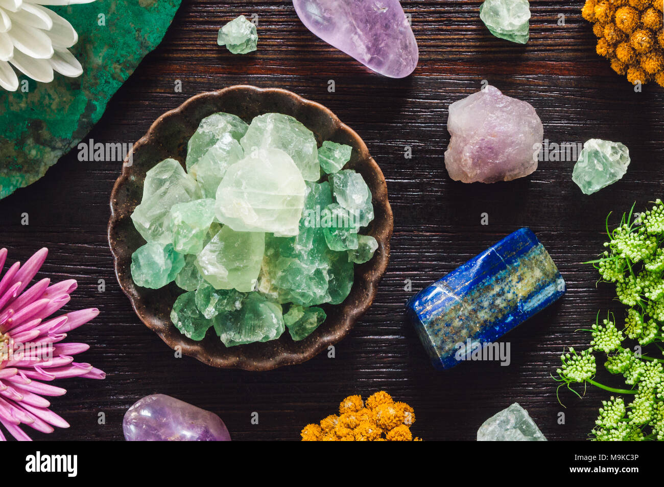 Stones of Pisces including, Amethyst, Flourite, Lapis Lazuli and Turquoise - Stock Image