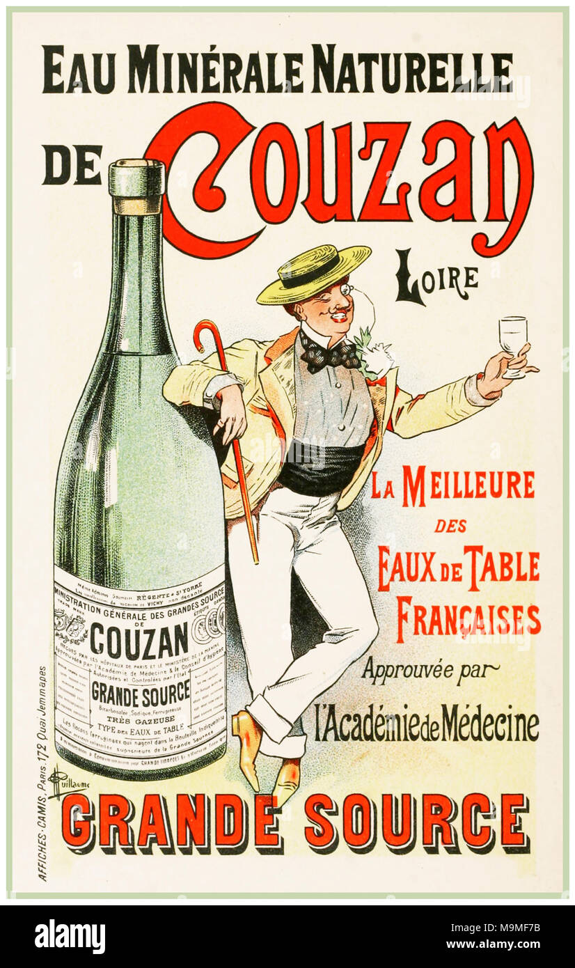 1890's Vintage French Advertising Poster for Loire Minerale Naturelle de Couzan French mineral natural table water - Stock Image