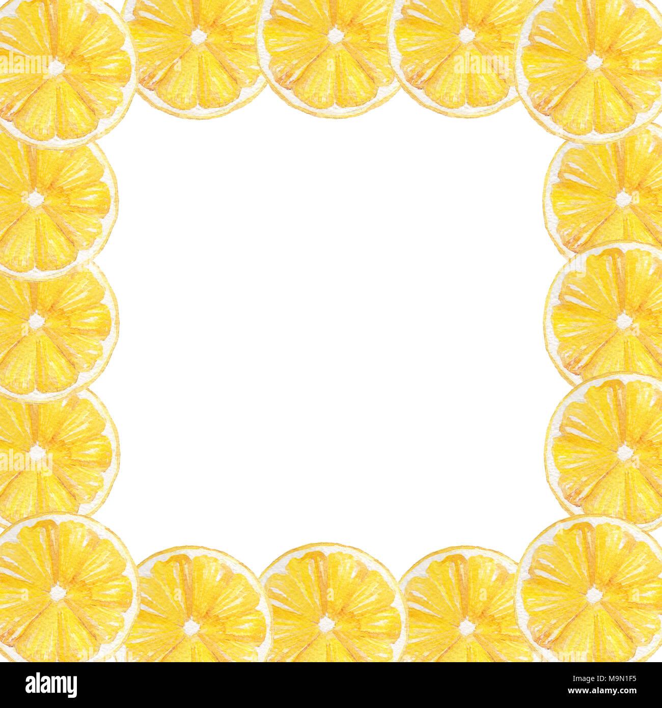 watercolor hand drawn lemon yellow fruit frame border perfect for