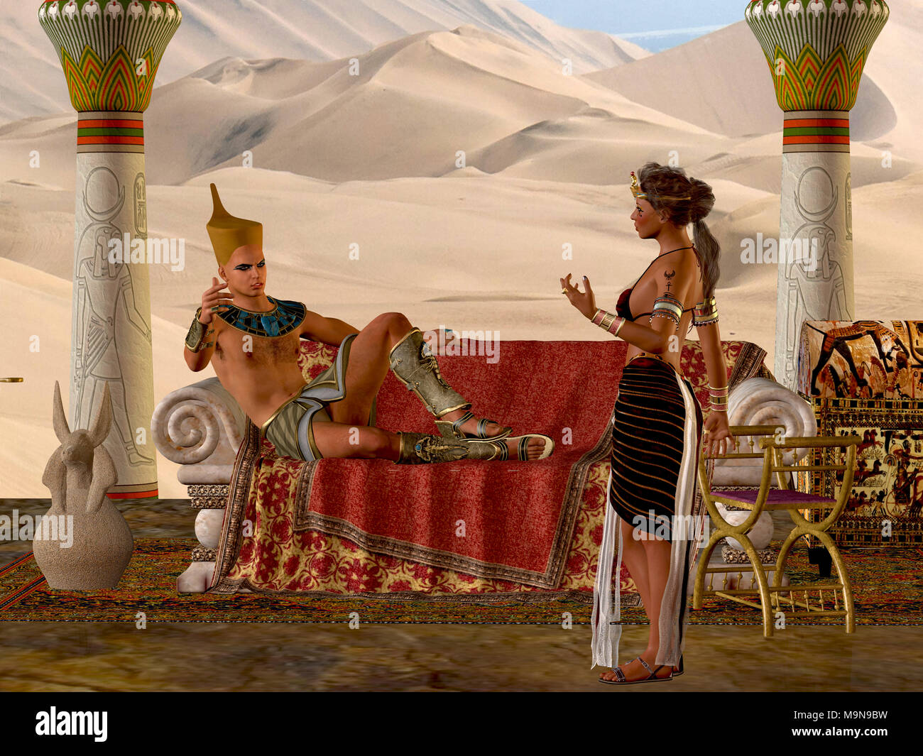 Egyptian Couple with Bench - The Egyptian Pharaoh and his wife have a discussion about everyday matters in their kingdom. - Stock Image