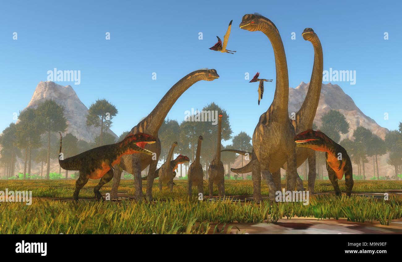 Mapusaurus Dinosaur Attack - Three predatory Mapusaurus dinosaurs surround a herd of Sauroposeidon sauropods as Thalassodromeus reptiles fly over. - Stock Image