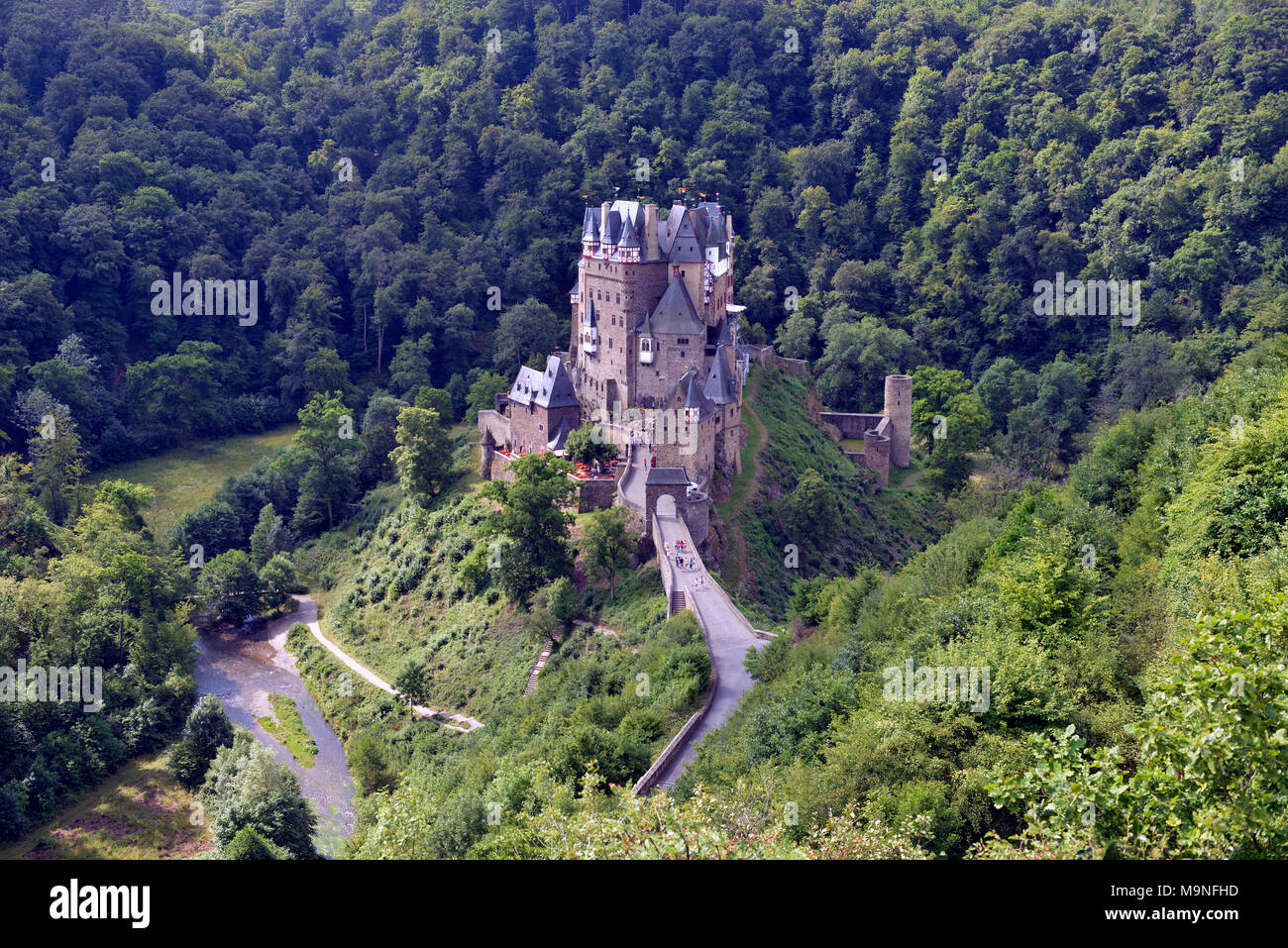Eltz Castle from the northeast side with the Eltz Forest in the background. Koblenz, Germany. - Stock Image