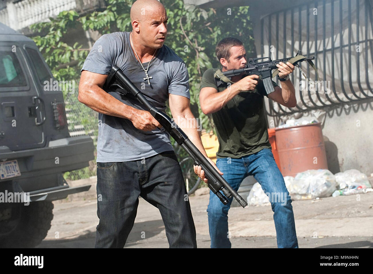 FAST AND FURIOUS 5 (aka Fast Five) 2011 Universal Pictures film with Vin Diesel at left and Paul Walker - Stock Image