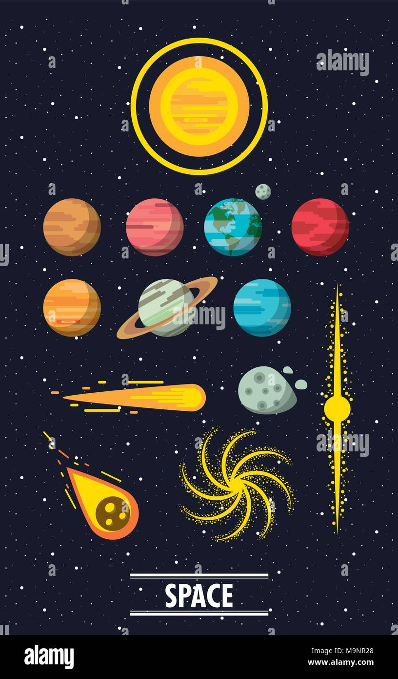 Milky way planets - Stock Image