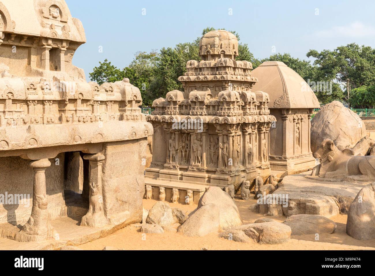 The Five Rathas, Arjuna ratha, Draupadi ratha, Mahabalipuram, Tamil Nadu, India - Stock Image