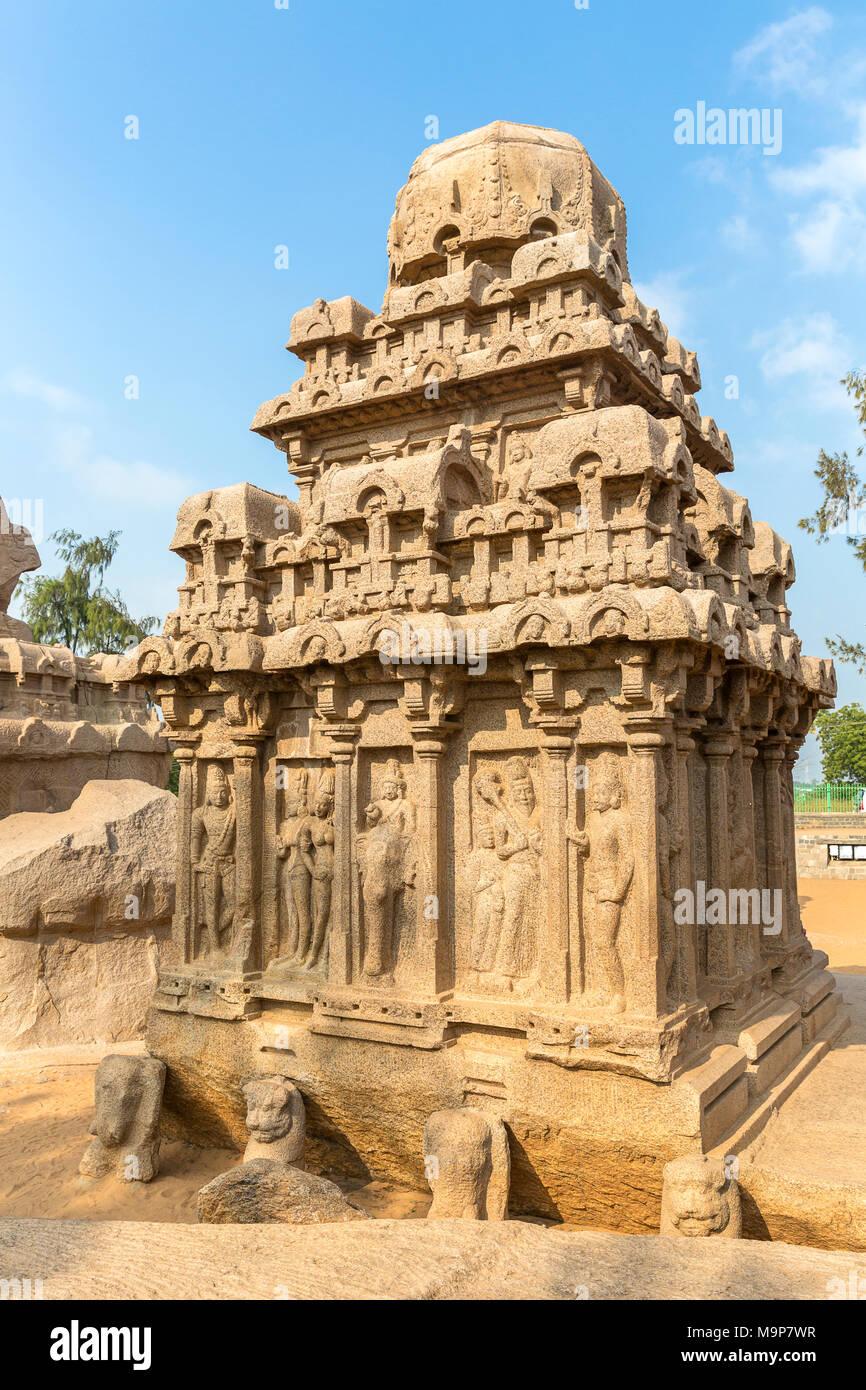 The Five Rathas, Arjuna ratha, Mahabalipuram, Tamil Nadu, India - Stock Image