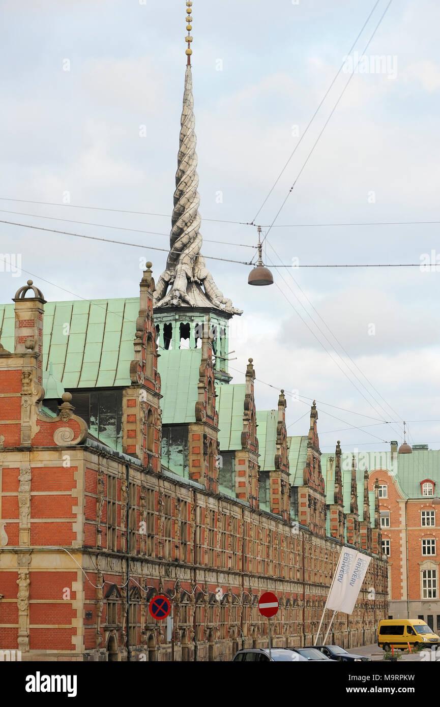 Dutch Renaissance Børsbygningen (The Stock Exchange) or Børsen (Exchange) on Slotsholmen in Copenhagen, Denmark. August 21st 2010, built from 1619 to  - Stock Image