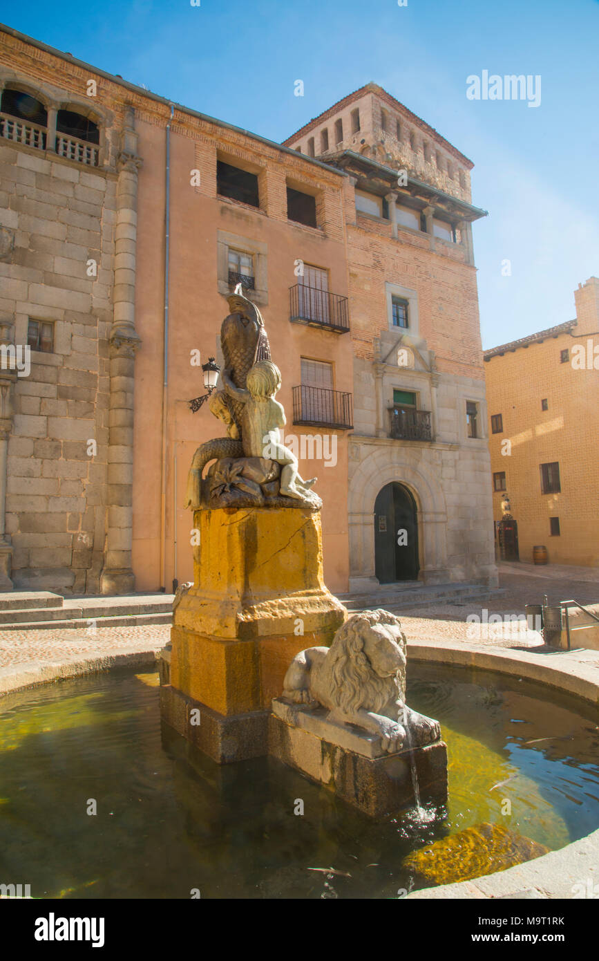 Fountain in Juan Bravo Square. Segovia, Spain. - Stock Image