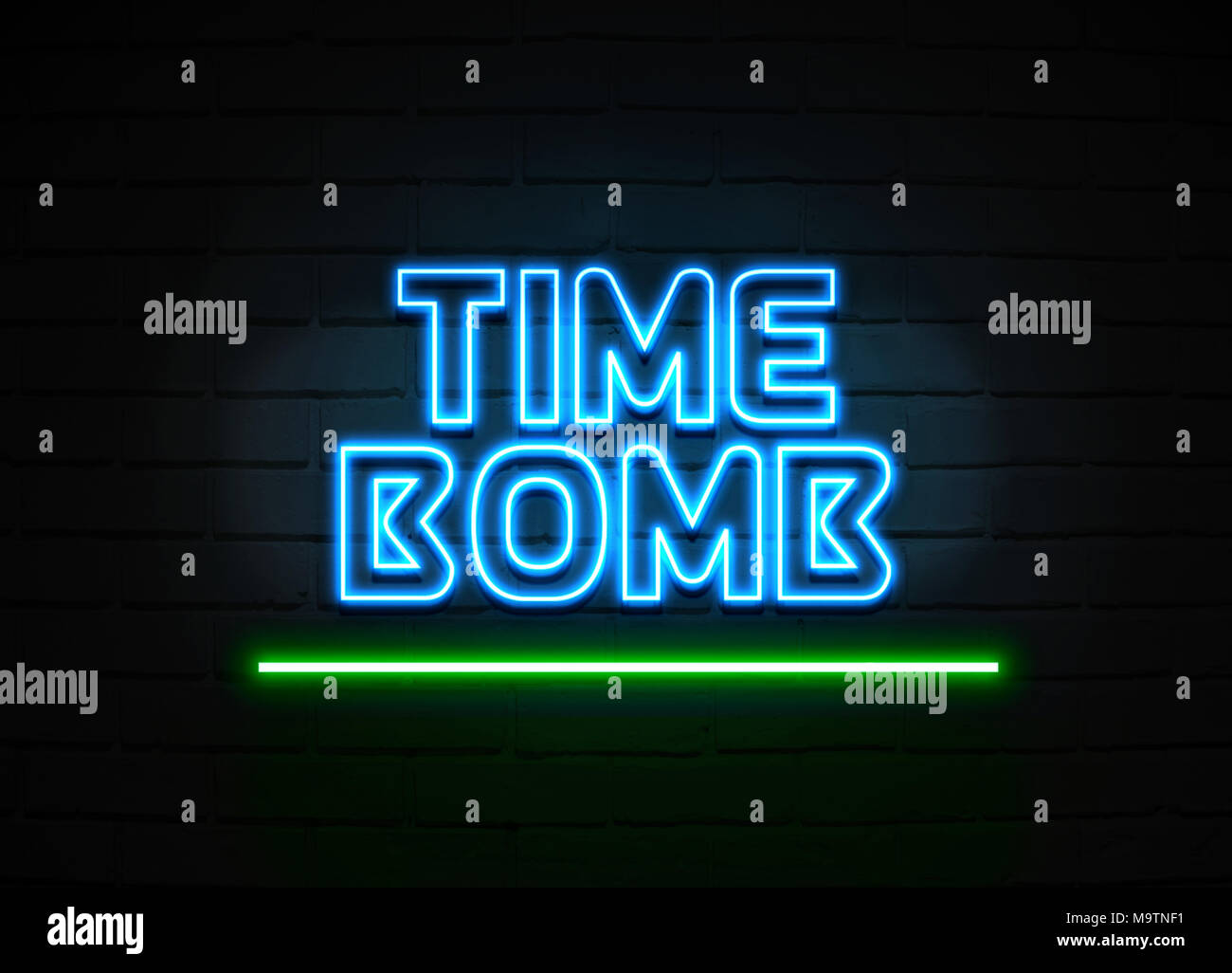 Time Bomb neon sign - Glowing Neon Sign on brickwall wall - 3D rendered royalty free stock illustration. - Stock Image