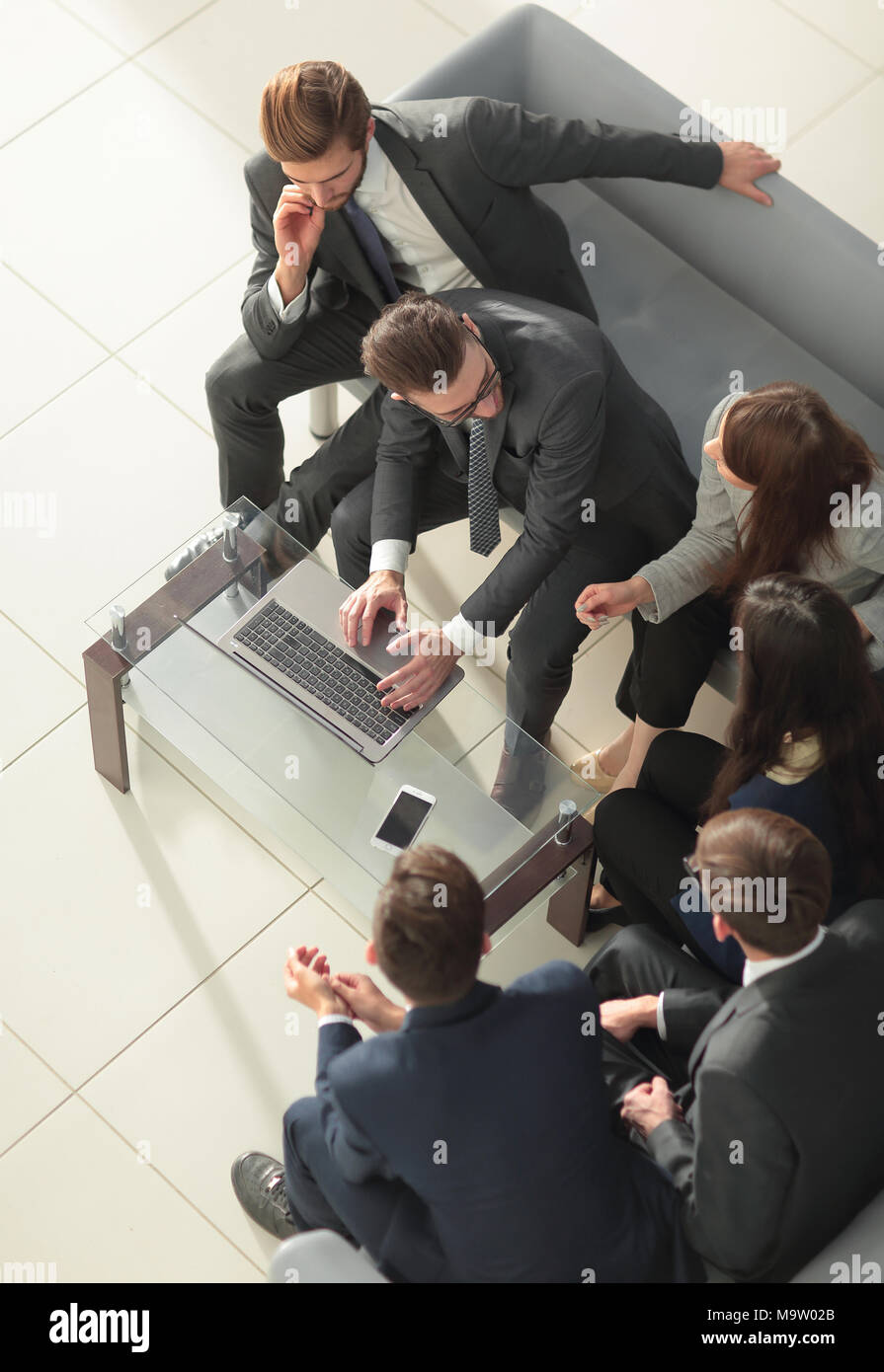 Row of business people waiting for an interview. Concept about b - Stock Image