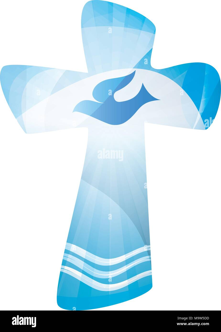 Christian Cross Baptism With Waves Of Water And Dove On Blue