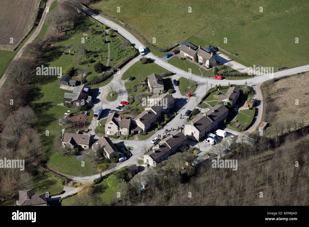 aerial view of the Emmerdale TV location set - Stock Image