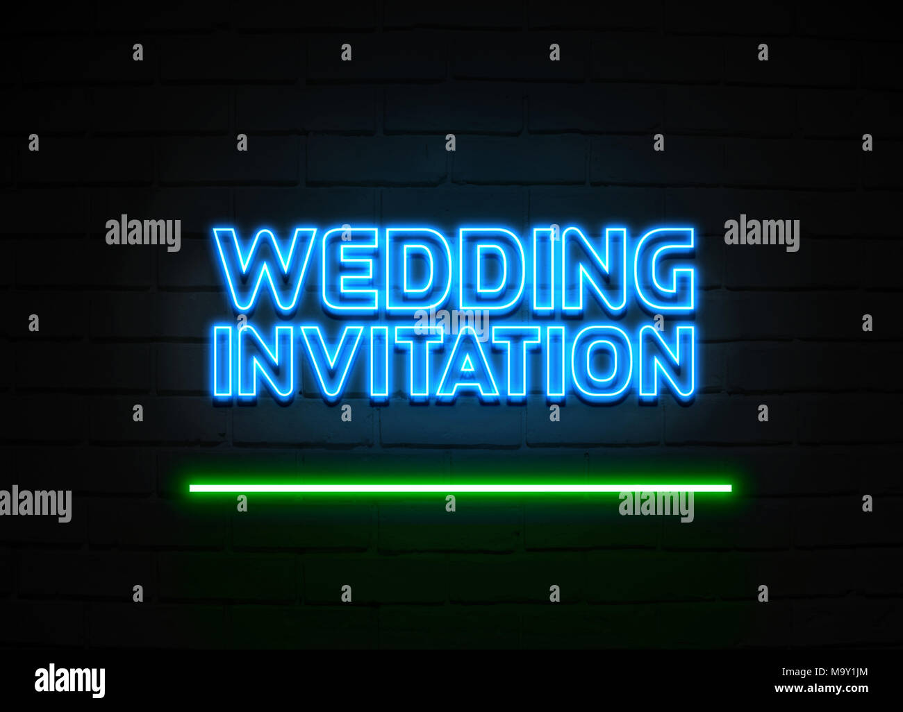 Wedding Invitation neon sign - Glowing Neon Sign on brickwall wall - 3D rendered royalty free stock illustration.
