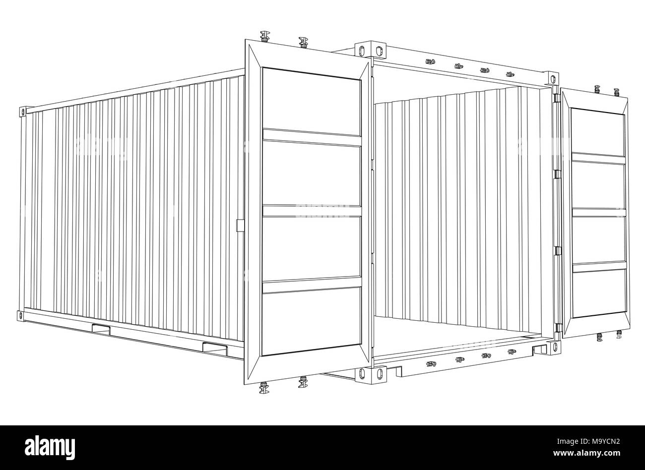 Open Empty Cargo Container. Wire-frame style Stock Photo: 178238286 ...