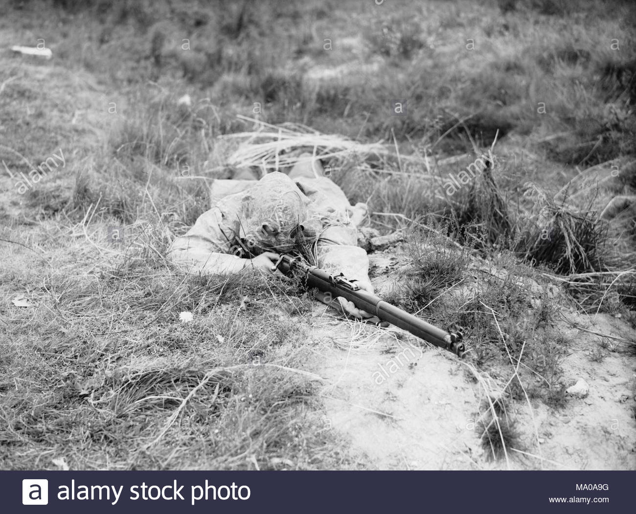 The British Army In United Kingdom 1939 45 Lovat Scout Prone Firing Position Dressed Sniper Camouflage Bisley Surrey 9 July 1940