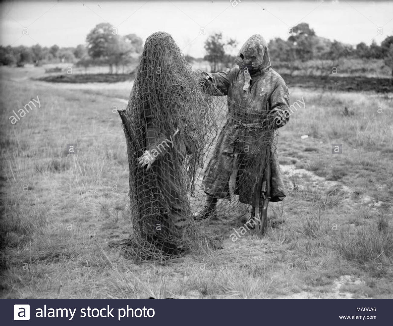 The British Army In United Kingdom 1939 45 Two Lovat Scouts Wearing Sniper Camouflage Bisley Surrey 9 July 1940
