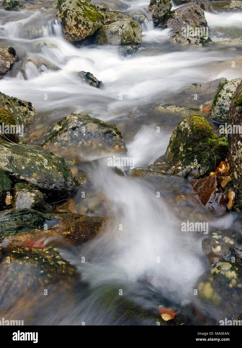A close up view of Fisher Gill river as it tumbles towards Thirlmere in the English Lake District. - Stock Image