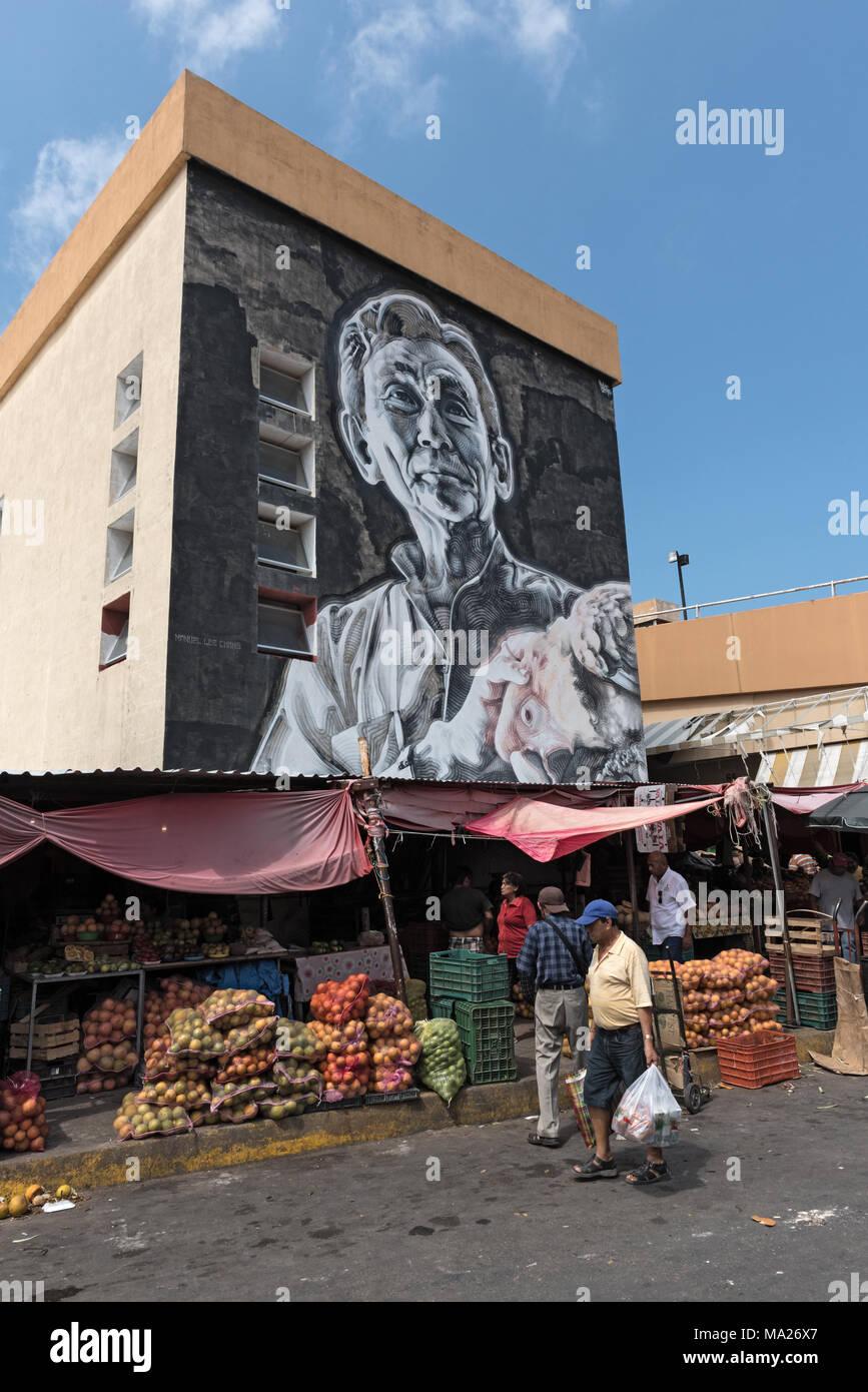 Street art at the Mercado Principal at San Francisco de Campeche, Mexico - Stock Image