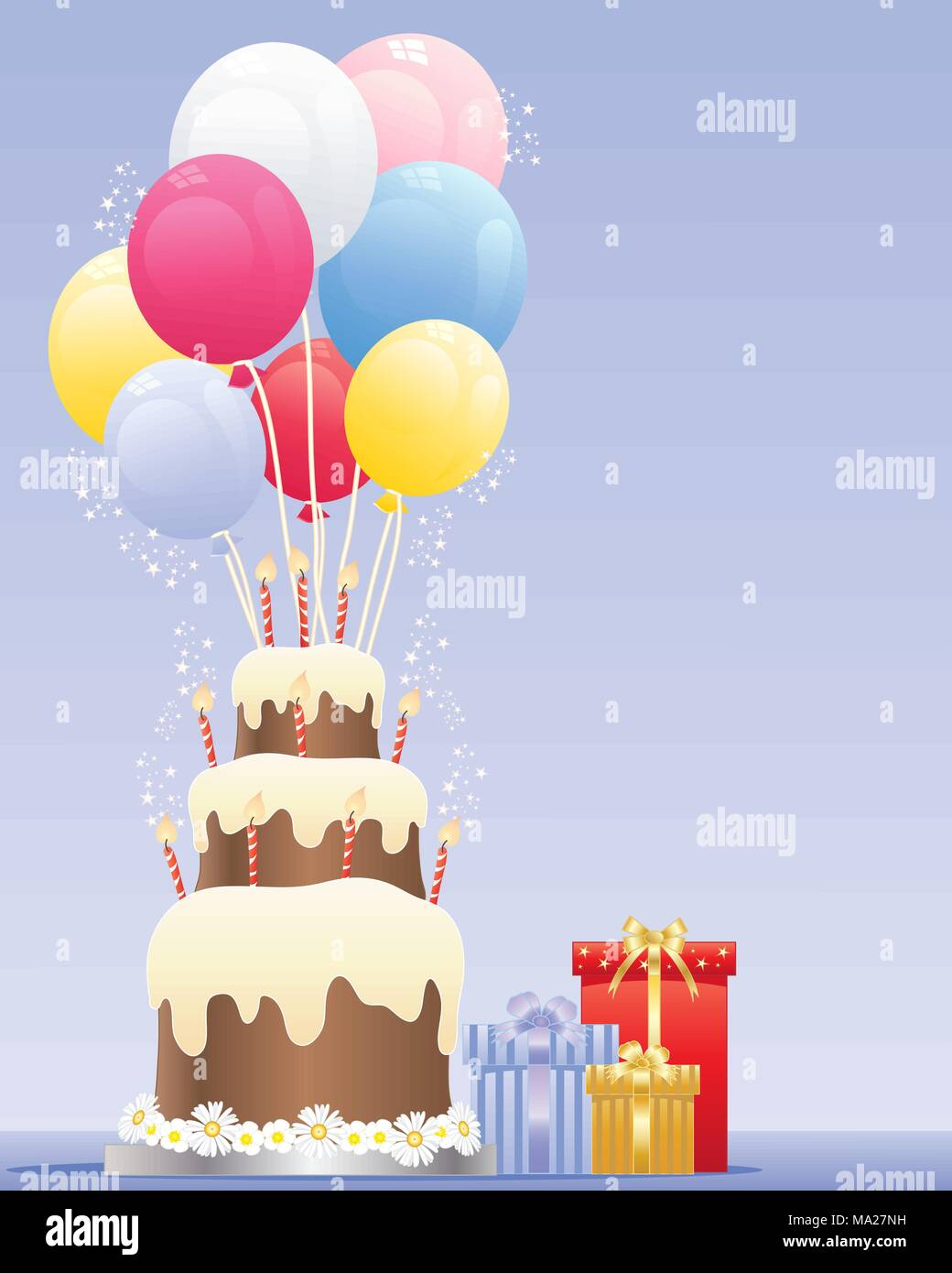 An Illustration Of A Birthday Cake With Three Tiers Striped Candles