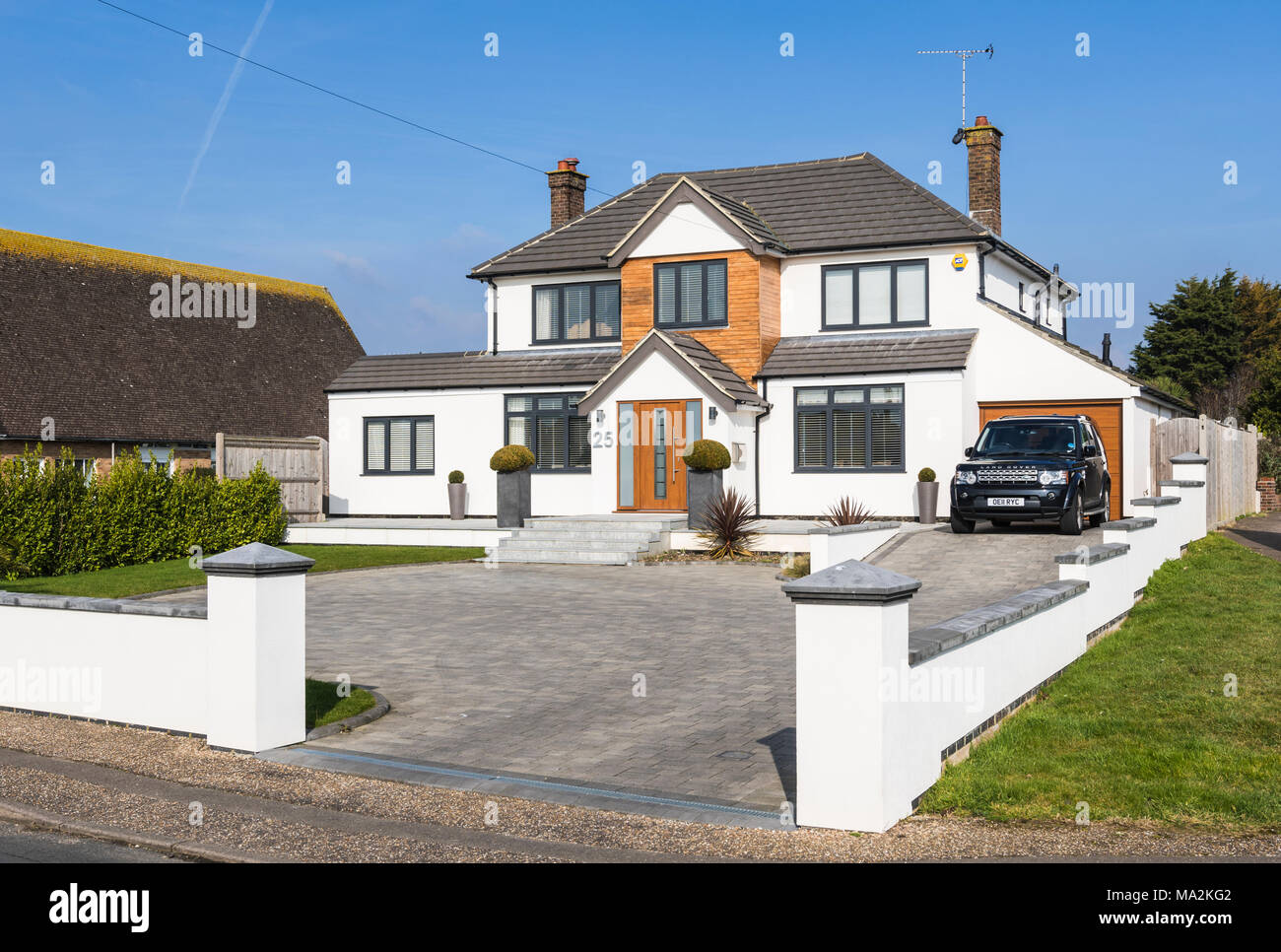 Large modern new detached house in a town in west sussex england uk