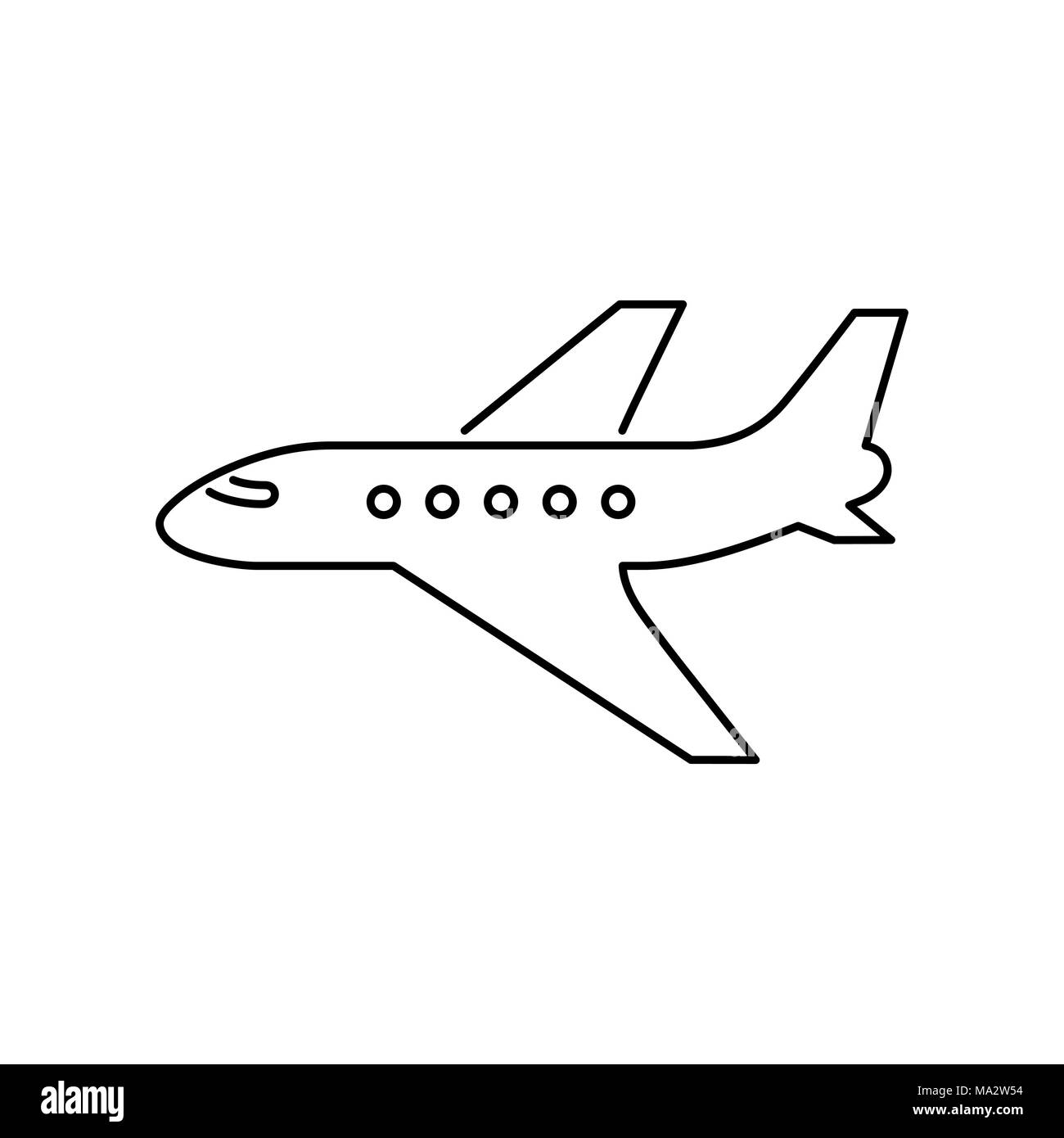 Plane icon simple flat vector illustration. - Stock Image