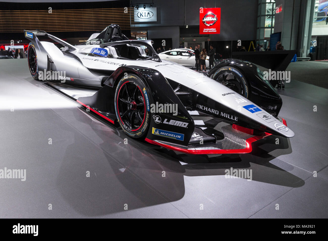 Nissan Race Car Formula E On Display In Nissan Pavilion At New - Jacob javits center car show 2018