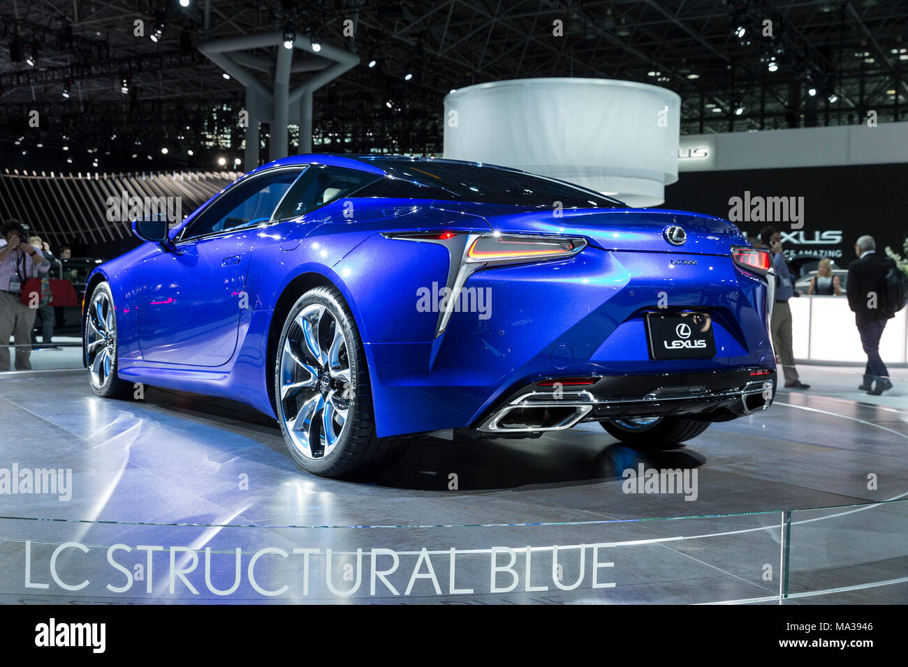 Lexus LC LC Structural Blue Coupe On Display At New York - Jacob javits center car show 2018