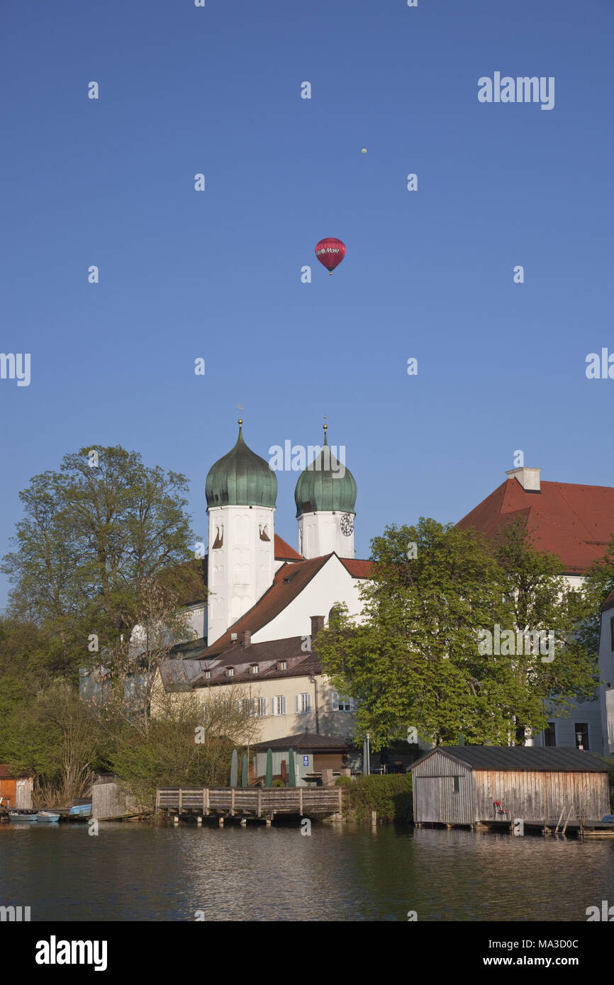 Abbey of Seeon in Klostersee, Chiemgau, Seeon-Seebruck, Upper Bavaria, Bavaria, South Germany, Germany, - Stock Image