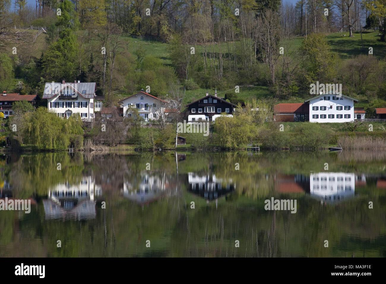 Seeon in the abbey lake, Seeon-Seebruck, Chiemgau, Upper Bavaria, Bavaria, South Germany, Germany, - Stock Image