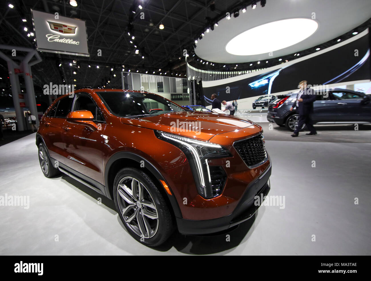 new york, usa. 29th mar, 2018. cadillac's latest suv is seen during