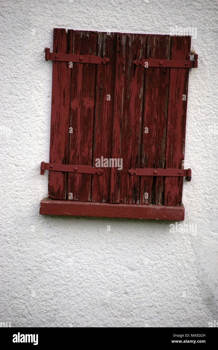 Closed old shutters on a nostalgic window, - Stock Image
