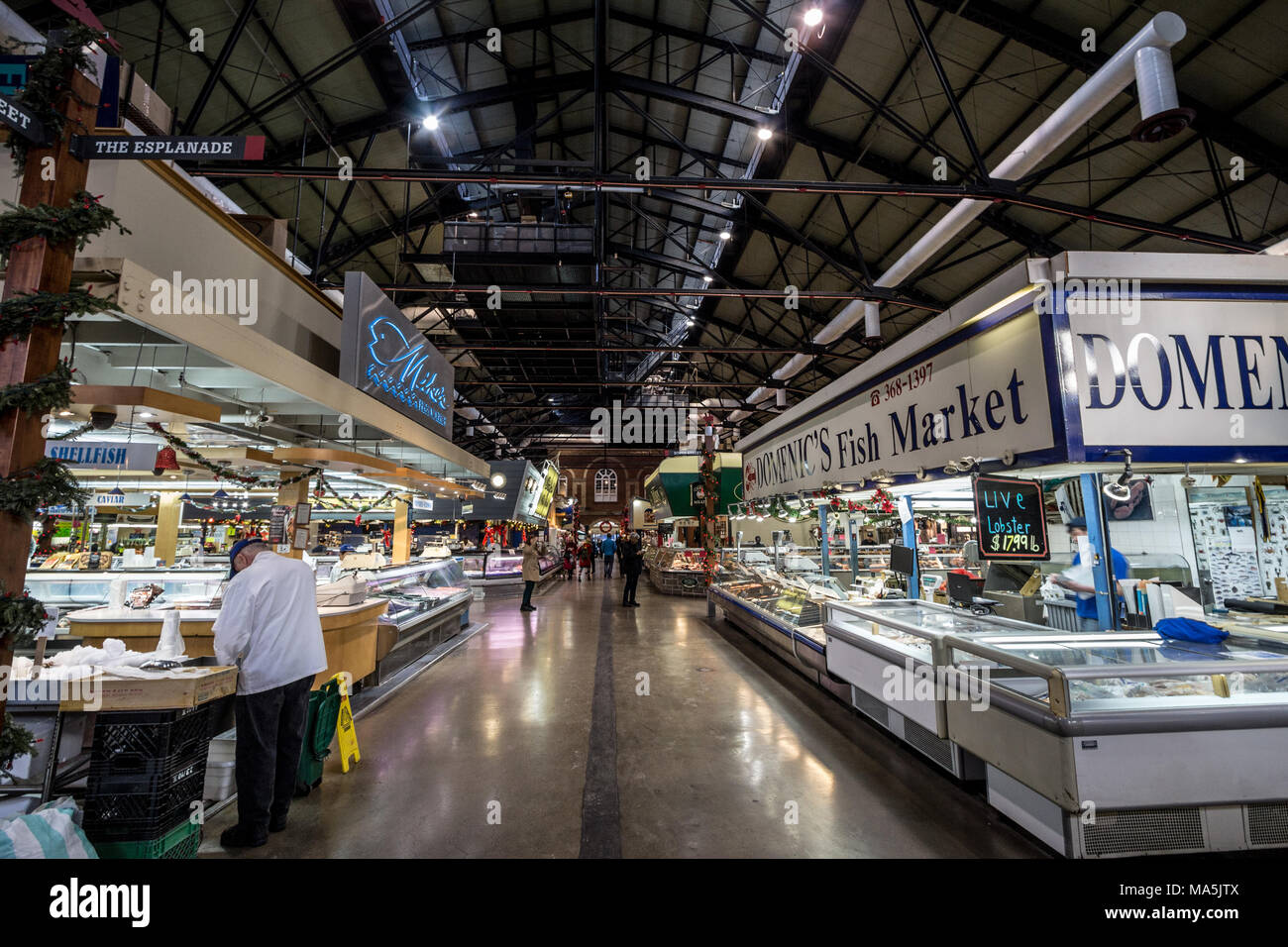 TORONTO, CANADA - DECEMBER 20, 2016: Interior of St Lawrence market with fish market stalls in the early morning. Saint Lawrence market is one of the  - Stock Image