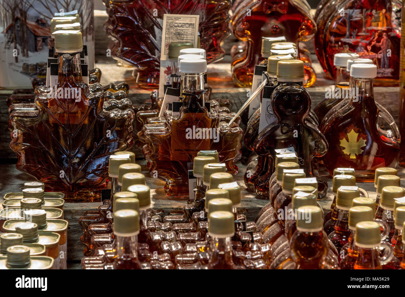 QUEBEC, CANADA - DECEMBER 26, 2016: Maple Syrup bottles for sale on Quebec city market. Quebec is the highest producer of Maple syrup in the world, a  - Stock Image