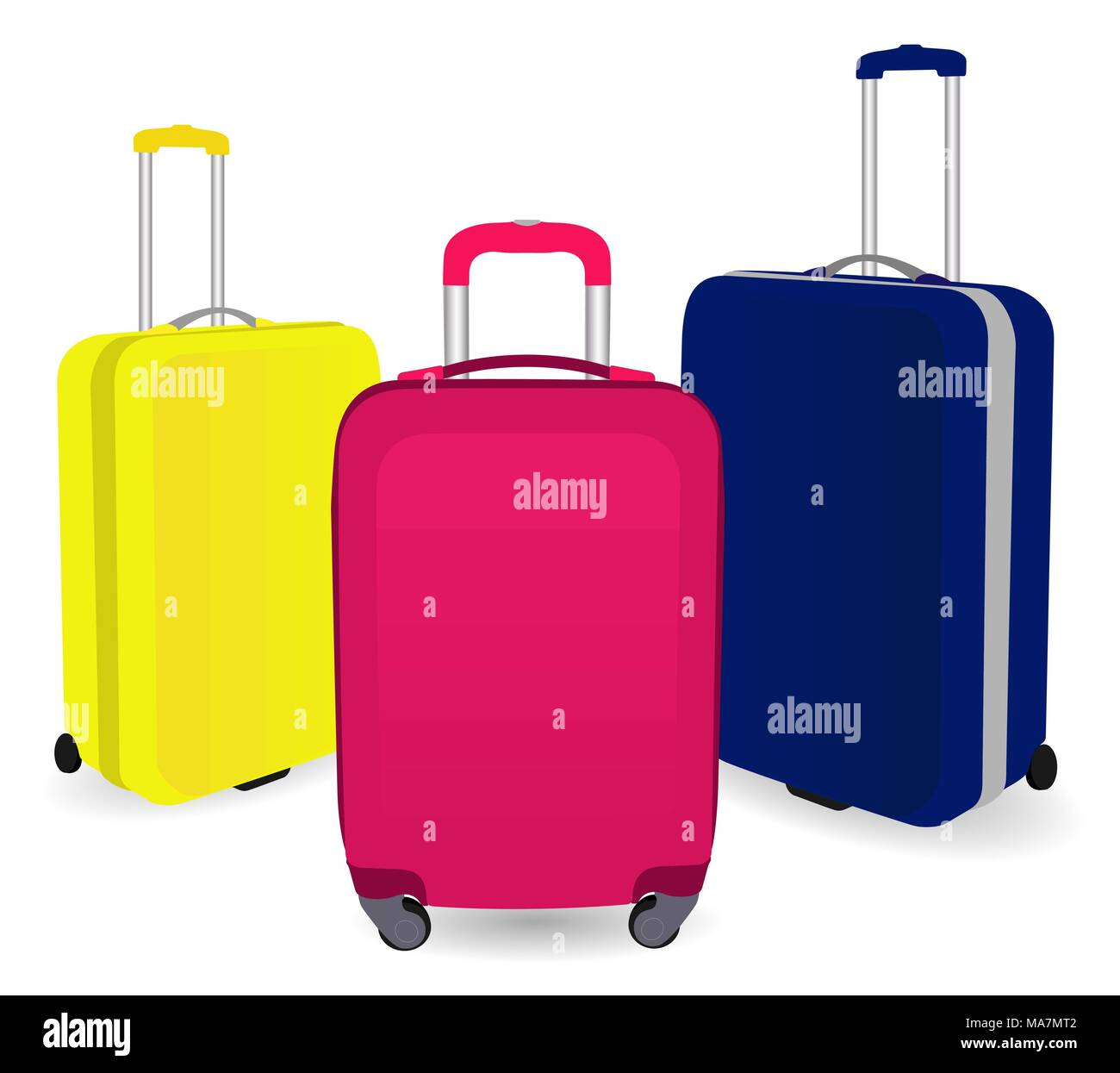 870368ed2b Colorful travel plastic suitcases with wheels realistic on white background  vector illustration