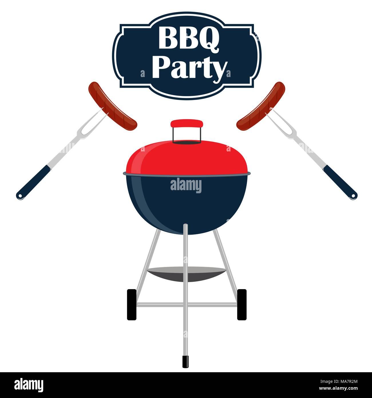 barbecue party invitation card design template barbecue sausage