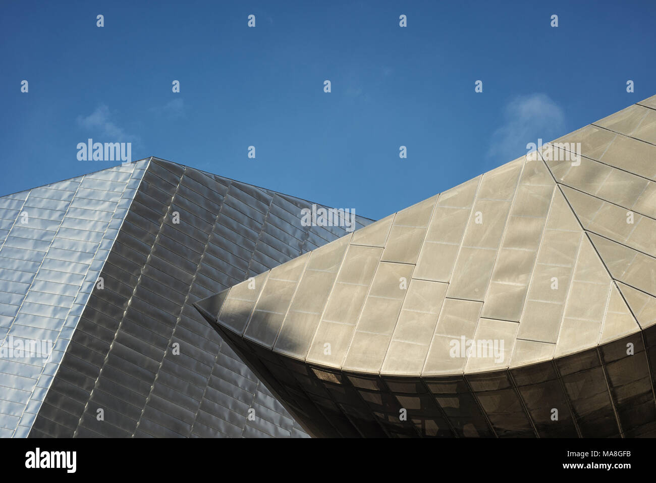 Architectural detail of the Lowry Theatre at Salford Quays, Manchester, England, UK - Stock Image