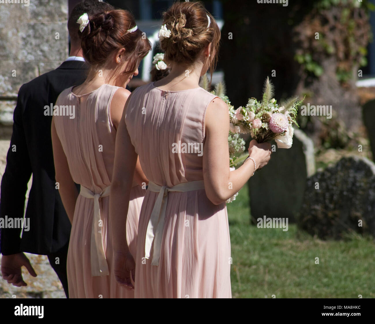 Rear view of two adult bridesmaids in muted pink dresses leaving a church wedding - Stock Image