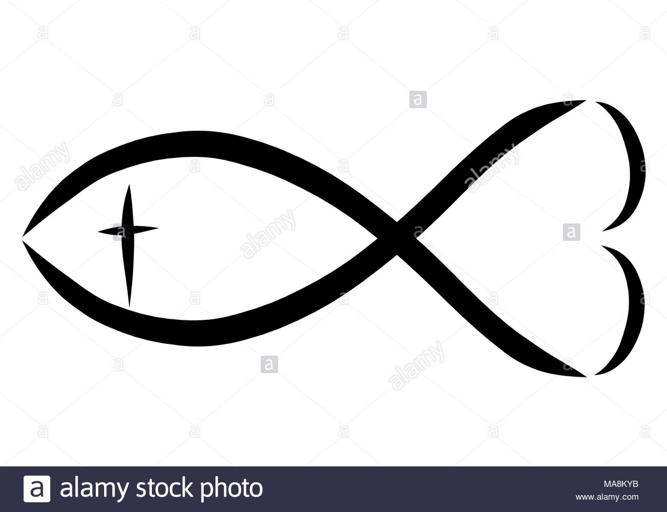 A Christian Symbol A Fish With A Cross And A Heart Stock Photo