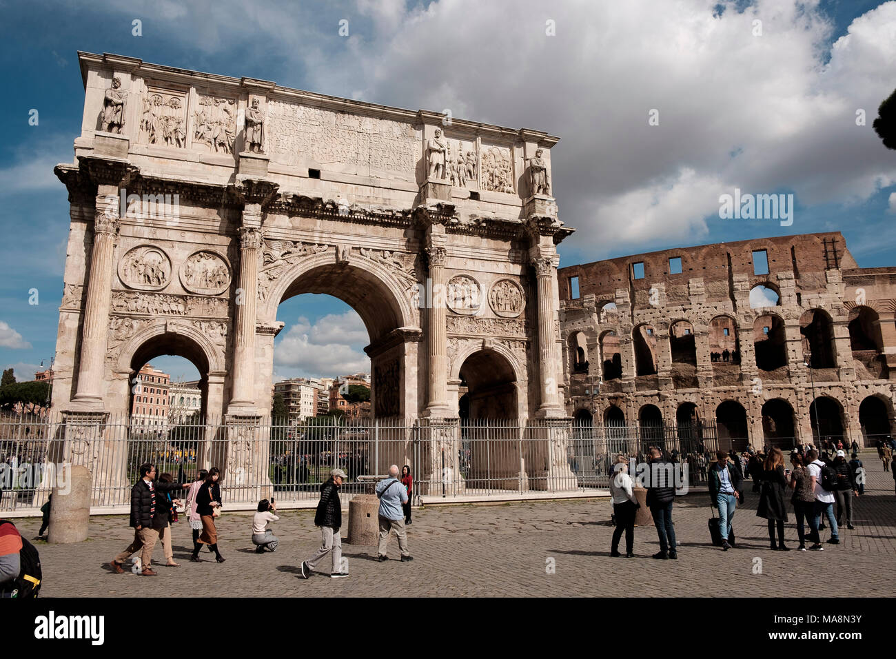 The Arch of Constantine, Arco di Costantino, and The Colosseum, Rome - Stock Image