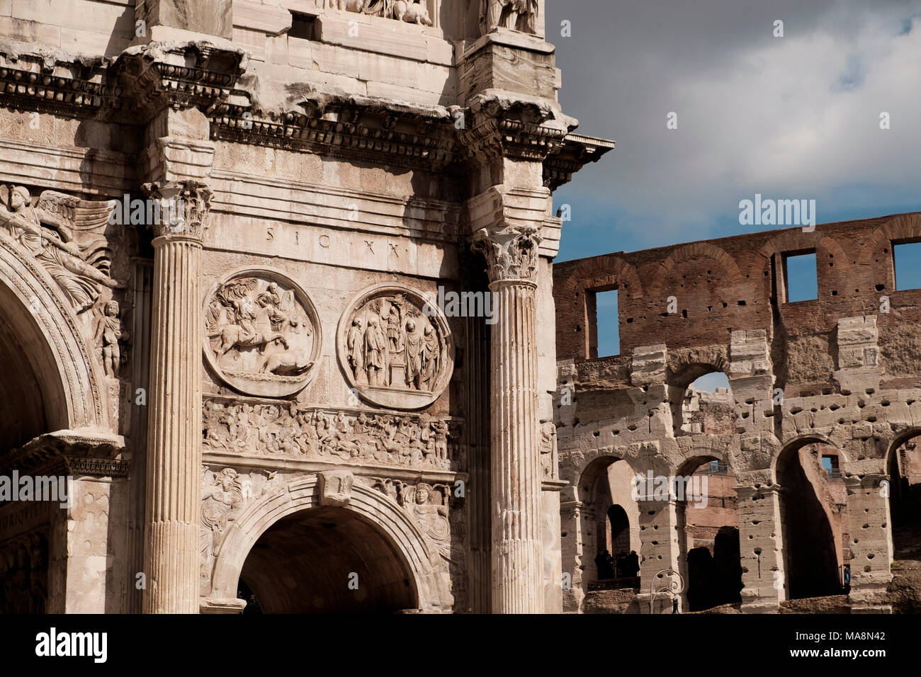 Detail of the Arch of Constantine, Arco di Costantino, Rome - Stock Image