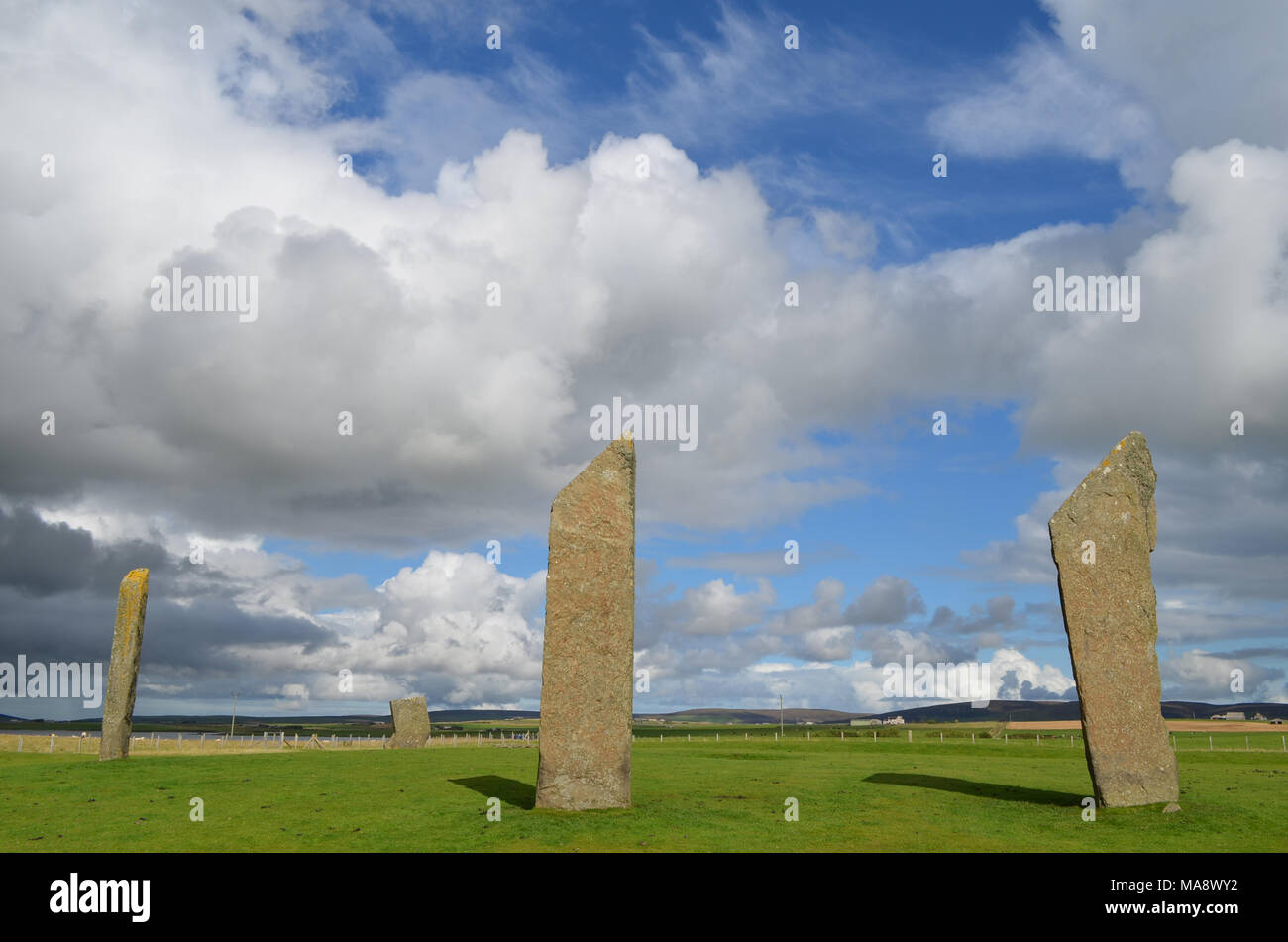 Standing Stones of Stenness, Neolithic megaliths in the island of Mainland (Orkney, Scotland) - Stock Image